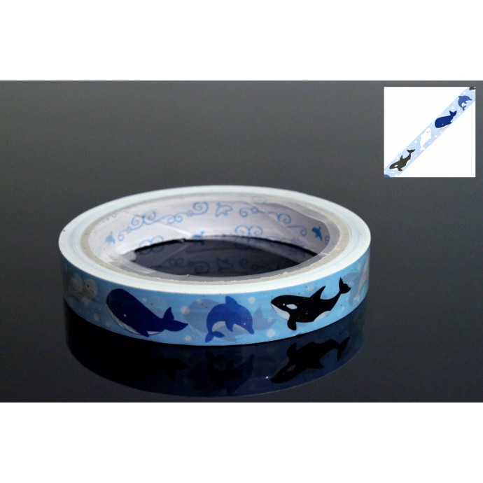 Cute Japanese Masking Tape Craft Sticker Kujira Whales 25 m