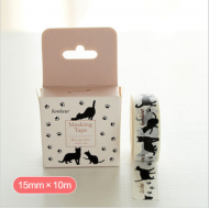 Kawaii Washi Masking Tape Craft Sticker Japanese NEKO Black Cats 10m