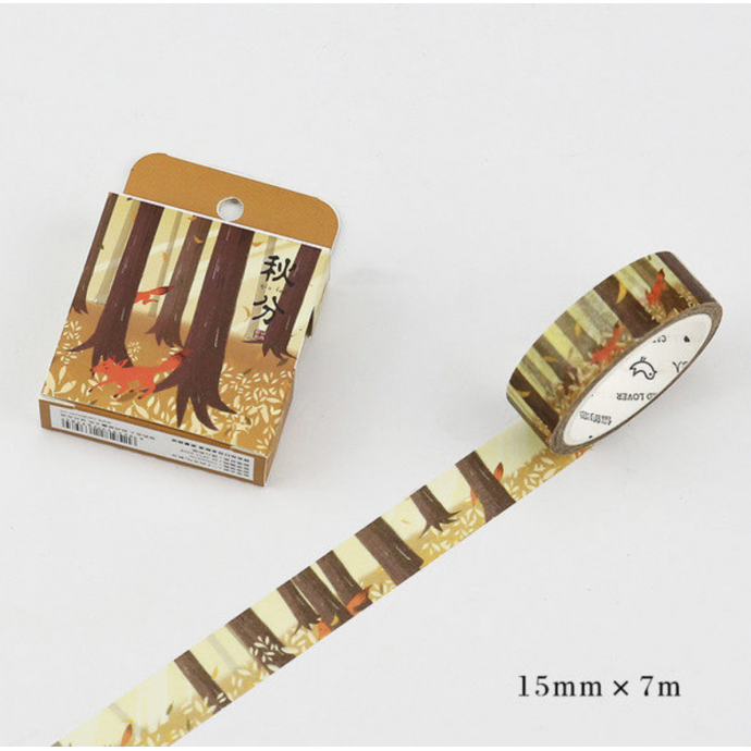 Fox Washi Masking Tape Craft Sticker Kitsune Forest 7m