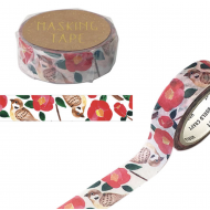 Camellia and sparrow Washi Masking Tape Craft Sticker Japanese Tsubaki 7m