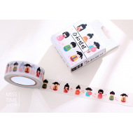 Kawaii Washi Masking Tape Craft Sticker Kokeshi dolls 10m
