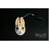 Japanese Usagi mask  ⛩  Lucky fortune mascot charm 金木犀 Osmanthus white rabbit