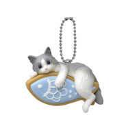 Cute Japanese Netsuke Cell Phone Charm Cat cafe cookie