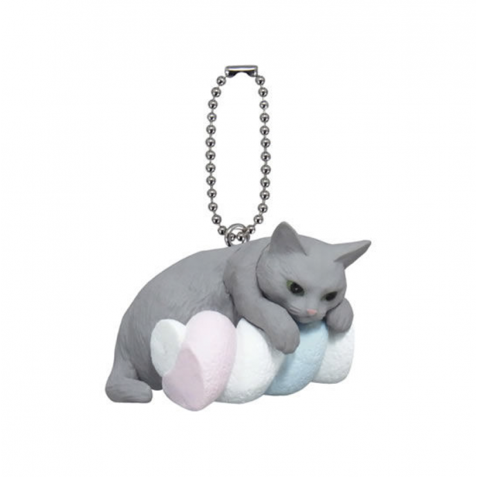 Cute Japanese Netsuke Cell Phone Charm Cat cafe marshmallow