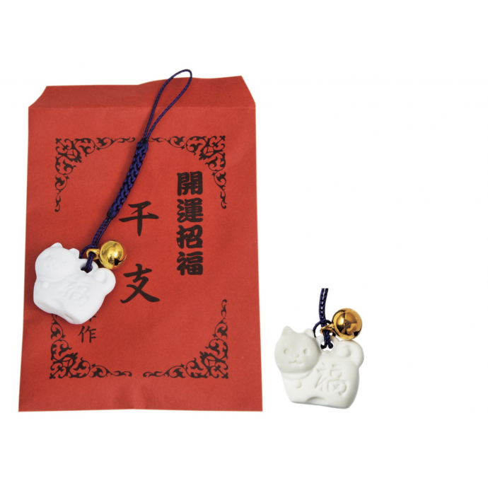 Lovely 2018 new year charm Inu Hariko - Japanese fortune talisman dog, white