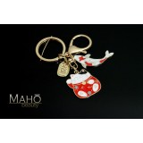 Japanese style Mascot Charm Keychain Maneki Neko Cat and carp fish KOINOROBI red
