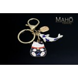Japanese style Mascot Charm Keychain Maneki Neko Cat and carp fish KOINOROBI blue