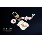 Japanese style Mascot Charm Keychain Maneki Neko Cat and carp fish KOINOROBI Heart