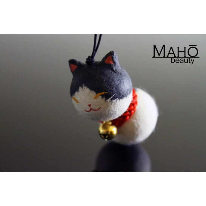 CUTE washi cell phone charm keychain NEKO Japanese cat: Black and white