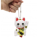 Lovely charm Maneki Neko - Japanese fortune cat mascot, white