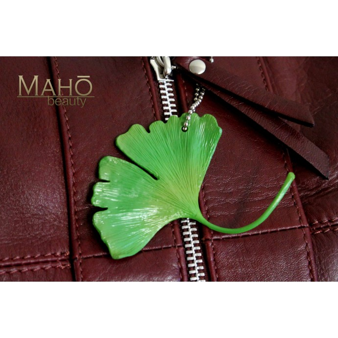 GINKGO TREE leaf NETSUKE CELL PHONE STRAP CHARM green ginkyō