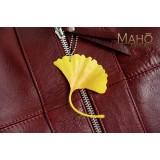 GINKGO TREE leaf NETSUKE CELL PHONE STRAP CHARM yellow ginkyō