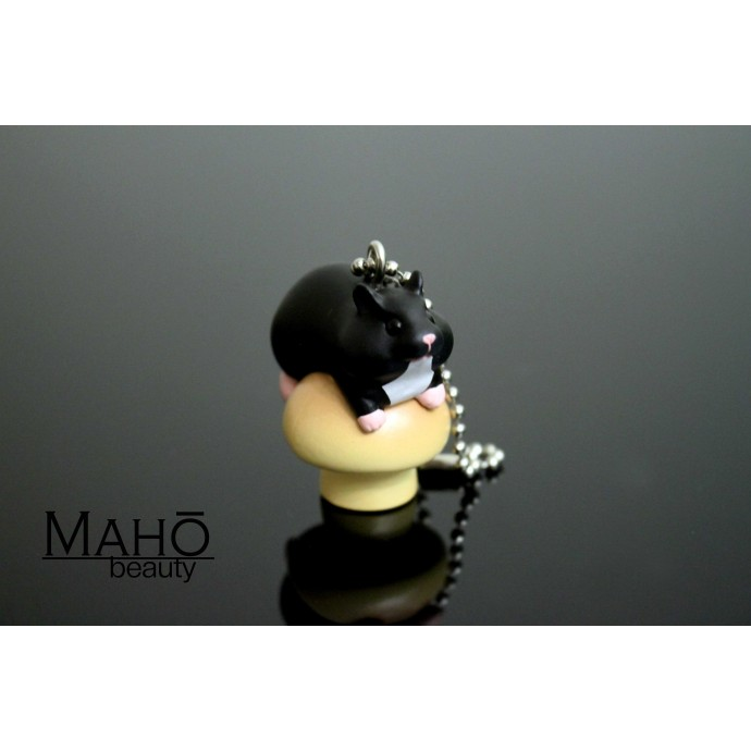 Adorable Charm Cell Phone Strap Keychain Hamster and mushroom black