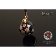 Charming Japanese Sakura Petite Mini Kaleidoscope Netsuke Cell Phone Strap (black)