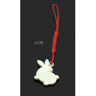 "Delicate design Japanese netsuke phone charm ""Usagi"" - white rabbit"