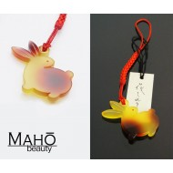 "Delicate design tortoiseshell-like unique Japanese netsuke phone charm ""Usagi"" - rabbit"