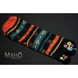 Japanese style TABI SOCKS 22 – 25 cm Flowers Stripes Black