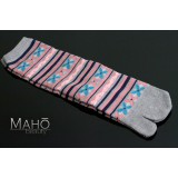 Longer style Japanese TABI SOCKS 22 – 25 cm Stripes and Flowers GRAY