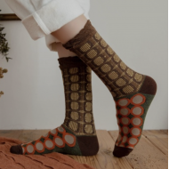 JAPANESE STYLE SOCKS: 22 – 25 cm Brown patterns