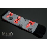 Angora Tabi socks Japanese design Akabeko 22-25 cm Red cow Grey