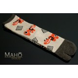 Angora Tabi socks Japanese design Akabeko 22-25 cm Red cow Beige