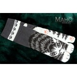 Cute Japanese TABI toe SOCKS: NEKO cats 22 – 25 cm grey