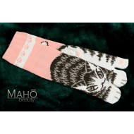 Cute Japanese TABI toe SOCKS: NEKO cats 22 – 25 cm pink