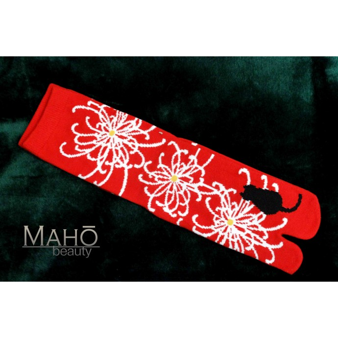 Higanbana flower and cat Japanese TABI toe SOCKS 22 – 25 cm  ( 彼岸花 )