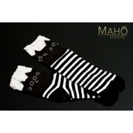 Cute MADE IN JAPAN TABI SOCKS: NEKO cat ears 22 – 25 cm black stripes