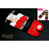 Cute MADE IN JAPAN TABI SOCKS: NEKO cat 22 – 25 cm red