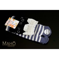 Cute MADE IN JAPAN TABI SOCKS: NEKO cat ears 22 – 25 cm blue stripes