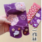 Japanese style Tabi socks: cute usagi rabbits うさぎ Purple 桜兎
