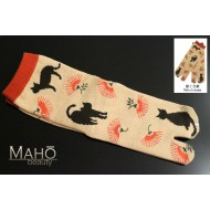 Cute Japanese TABI toe SOCKS: NEKO to nemu (Cats and silk tree) 22 – 25 cm 猫と合歓