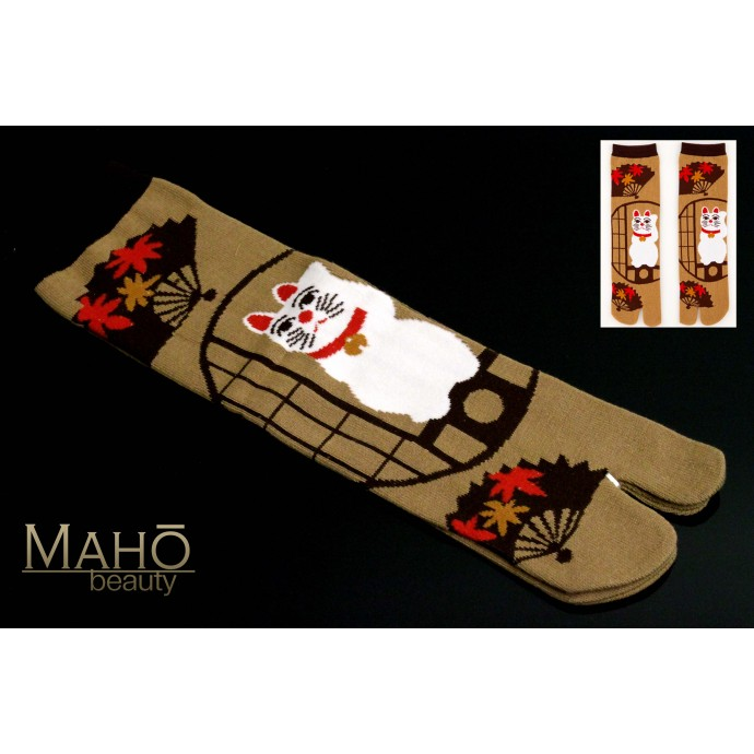 Cat MADE IN JAPAN Kyoto TABI SOCKS: Maneki neko  23 – 25 cm maple