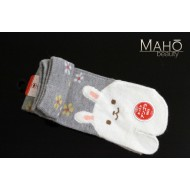 Japanese design Angora Tabi socks: USAGi rabbit  22-25 cm Grey