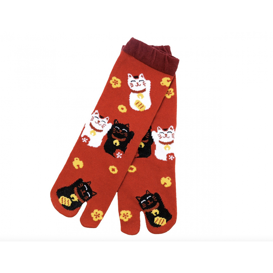 Cool Japanese Style Kawaii Tabi Socks Maneki Neko 22 25