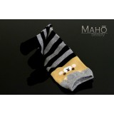 Cute MADE IN JAPAN TABI SOCKS: Dog Shiba Inu  22 – 25 cm grey/black stripes