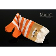 Cute MADE IN JAPAN TABI SOCKS: Dog Shiba Inu  22 – 25 cm orange stripes