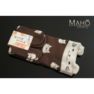 Lovely MADE IN JAPAN TABI SOCKS: NEKO cat ears 22 – 25 cm Brown
