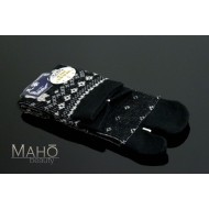 Cute warm TABI SOCKS with wool: NEKO cats 22 – 25 cm Black