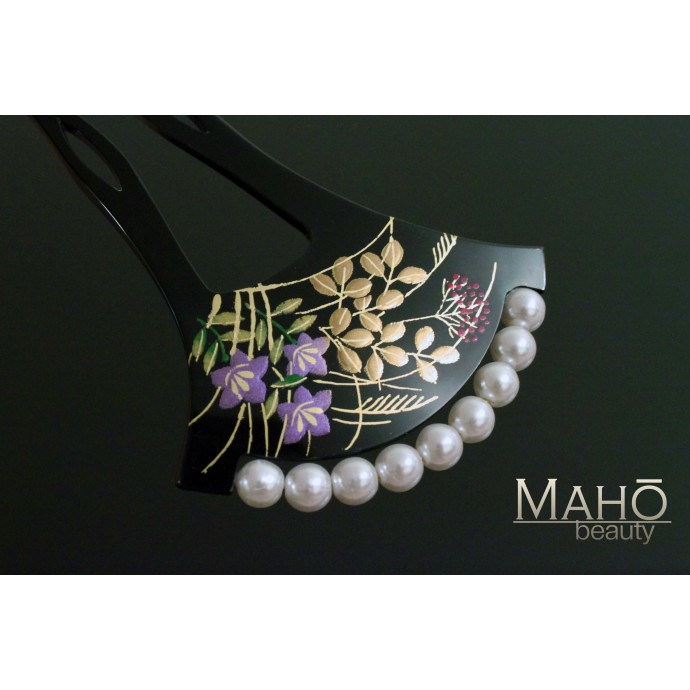 Traditional JAPANESE hair accessory - FAN KANZASHI HAIR COMB Kikyo and Hagi