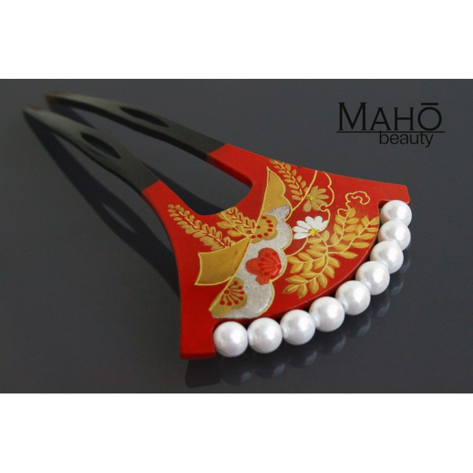 "Elegant Traditional JAPANESE hair accessory - KANZASHI hair comb ""Golden Wisteria"""