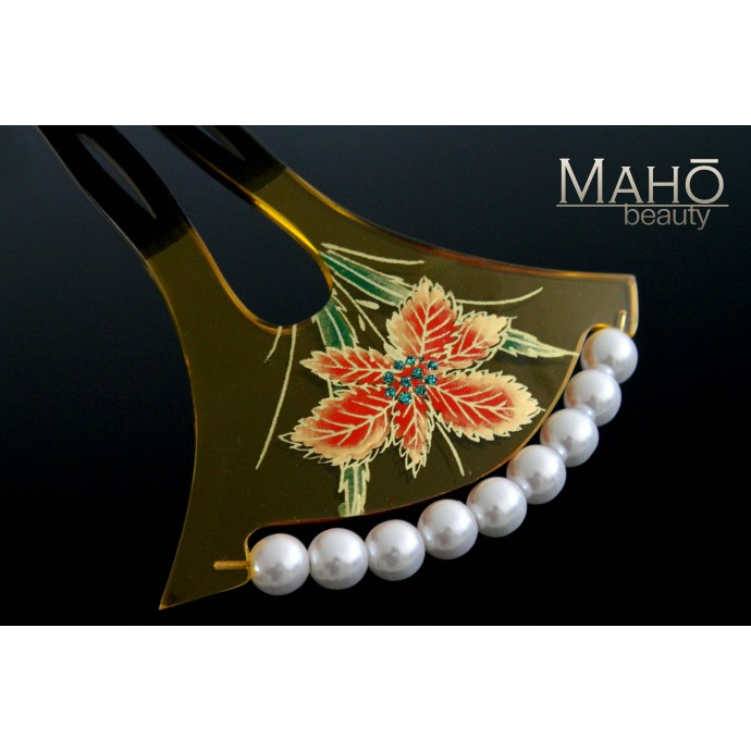 Charming JAPANESE hair accessory - KANZASHI HAIR COMB: IRIS