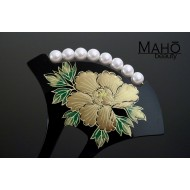 Traditional JAPANESE hair accessory - KANZASHI HAIR COMB Peony flower