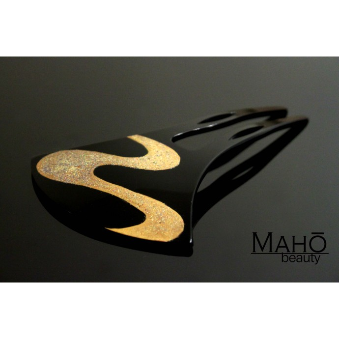 Elegant JAPANESE hair accessory - KANZASHI HAIR COMB Golden wave