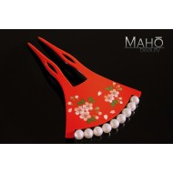 "Beautiful JAPANESE KANZASHI hair comb Maki-e style ""Sakura"""