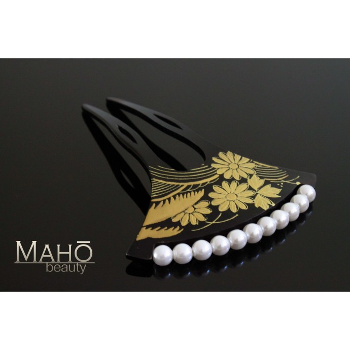 Charming JAPANESE hair accessory - KANZASHI HAIR COMB: Kiku and Susuki