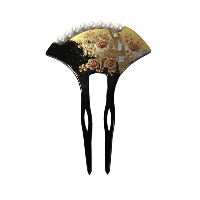 JAPANESE hair accessory - KANZASHI HAIR COMB Matsu and Ume, Pine and Plum Blossoms
