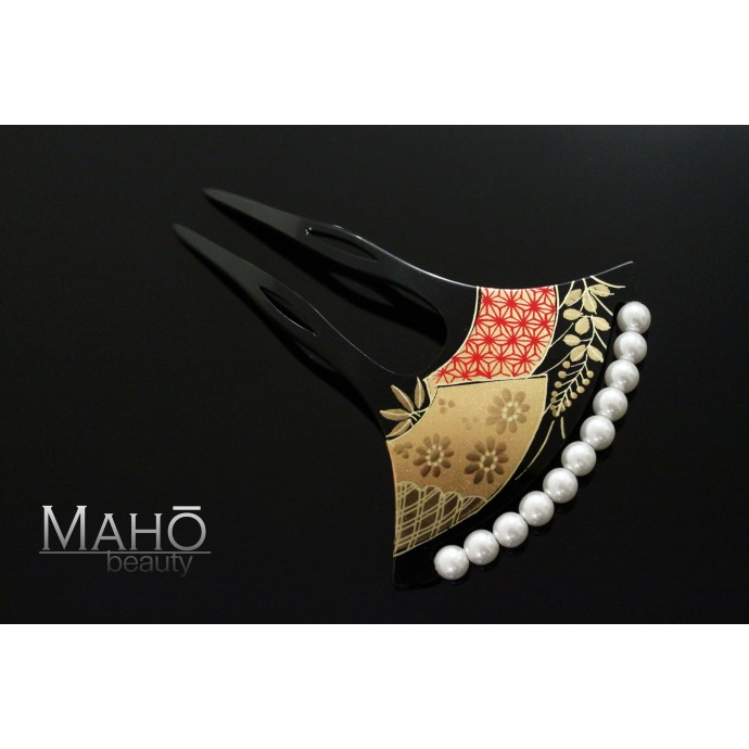 Charming JAPANESE hair accessory - KANZASHI HAIR COMB: Kiku and Hagi