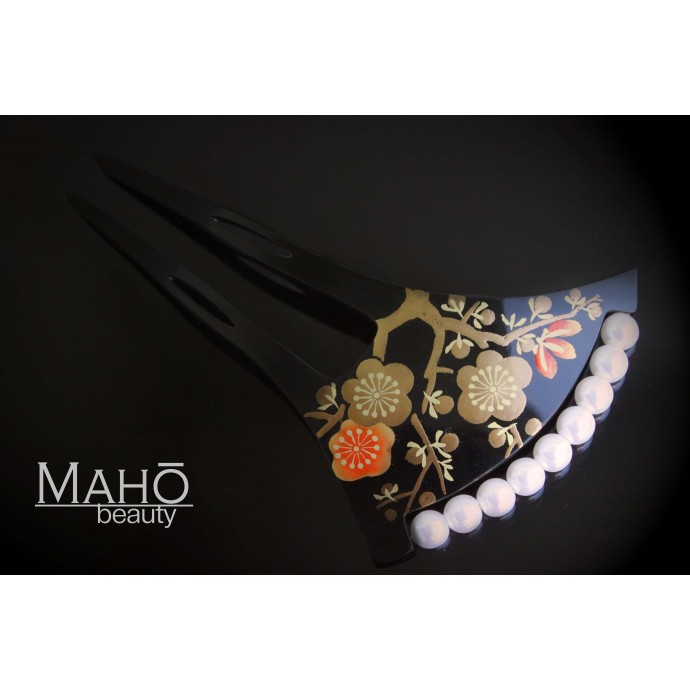 Traditional JAPANESE hair accessory - FAN KANZASHI HAIR COMB Ume